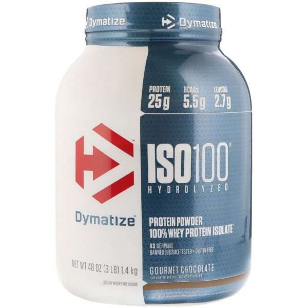 DYMATIZE ISO 100 HYDROLYZED PROTEIN POWDER 100% WHEY PROTEIN ISOLATE 3lbs 43 SERVINGS BANNED SUBSTANCE TESTED GLUTEN FREE 3lbs - DYMATIZE www.oms99.in