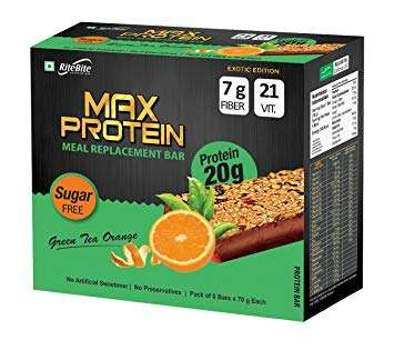MAX PROTEIN MEAL REPLACEMENT BAR 20gm PROTEIN IN EACH BAR SUGAR FREE GREEN TEA ORANGE 20gm PROTEIN IN EACH BAR - RITEBITE www.oms99.in
