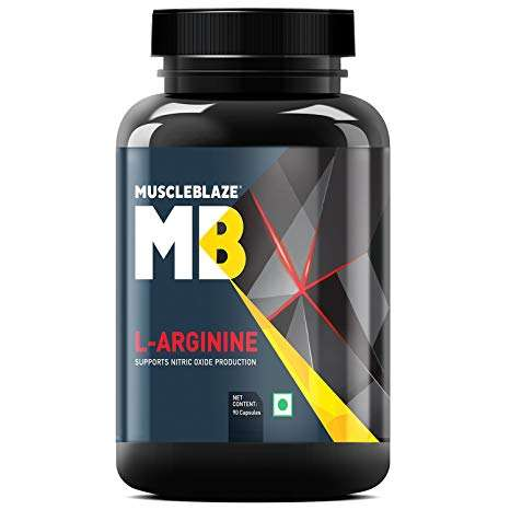 MUSCLEBLAZE L-ARGININE FOR BODY PUMP 500mg SUPPORTS NITRIC OXIDE PRODUCTION 500mg - 90 capsules -www.oms99.in