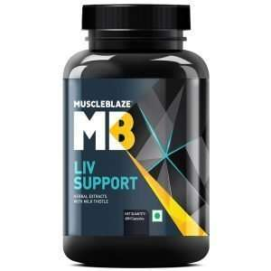 MUSCLEBLAZE LIV SUPPORT 60capsules HERBAL EXTRACTS WITH MILK THISTLE 60capsules - MB www.oms99.in