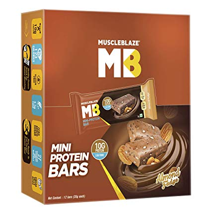 MUSCLEBLAZE MINI-PROTEIN BAR (10g PROTEIN) ALMOND FUDGE BAR - MB www.oms99.in