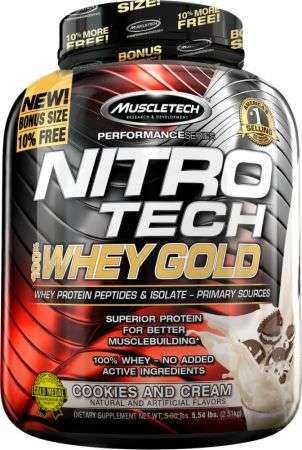 MUSCLETECH PERFORMANCE SERIES NITRO TECH 100% WHEY GOLD 5.54lbs WHEY PROTEIN PEPTIDES & ISOLATE 5.54lbs - MUSCLETECH