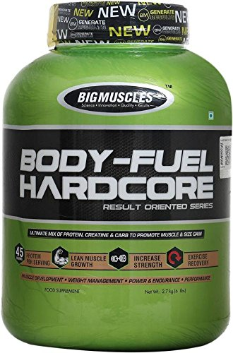 BIG MUSCLES BODY FUEL HARDCORE RESULT ORIENTED SERIES 6lb ULTIMATE MIX OF PROTEIN CREATINE & CARBO TO PROMOTE MUSCLE & SIZE GAIN 6lb - BIG MUSCLES www.oms99.in