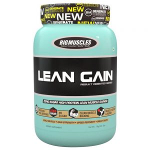 BIG MUSCLES LEAN GAIN RESULT ORIENTED SERIES 2.2lb ZERO SUGAR HIGH PROTEIN LEAN MUSCLE GAINER 2.2lb - BIG MUSCLES www.oms99.in