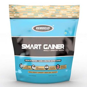 BIG MUSCLES SMART GAINER RESULT ORIENTED SERIES 11lb PREMIUM PROTEIN CARB & CREATINE MATRIX GAINER 11lb - BIG MUSCLES www.oms99.in