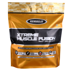 BIG MUSCLES XTREME MUSCLE FUSION RESULT ORIENTED SERIES 11lb HIGH PROTEIN & CARB COMPLEX TO SUPPORT WEIGHT MUSCLE & STRENGTH GAINS 11lb - BIG MUSCLES www.oms99.in