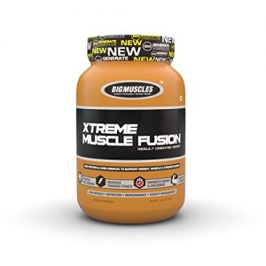 BIG MUSCLES XTREME MUSCLE FUSION RESULT ORIENTED SERIES 2.2lb HIGH PROTEIN & CARB COMPLEX TO SUPPORT WEIGHT MUSCLE & STRENGTH GAINS 2.2lb - BIG MUSCLES www.oms99.in