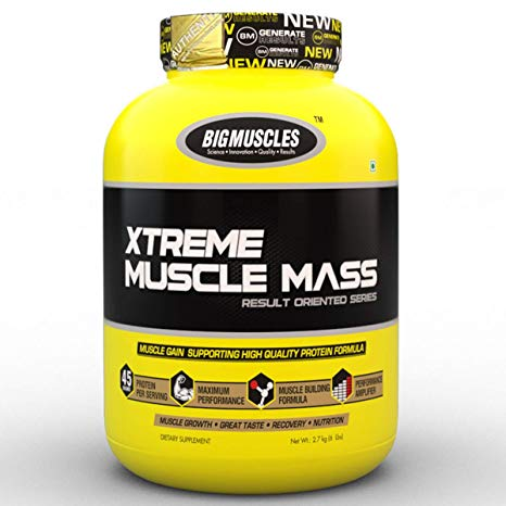 BIG MUSCLES XTREME MUSCLE MASS RESULT ORIENTED SERIES 6lb MUSCLE GAIN SUPPORTING HIGH QUALITY PROTEIN FORMULA 6lb - BIG MUSCLES www.oms99.in