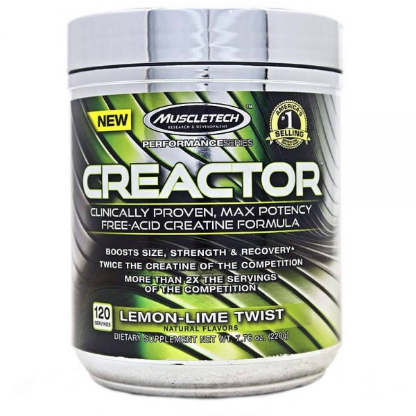 MUSCLETECH PERFORMANCE SERIES CREACTOR CREATINE 220gm CLINICALLY PROVEN MAX POTENCY FREE ACID CREATINE FORMULA 220gm - MUSCLETECH www.oms99.in